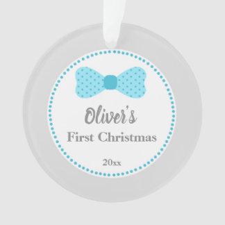 Newborn First Christmas Ornament Bow Tie Turquoise