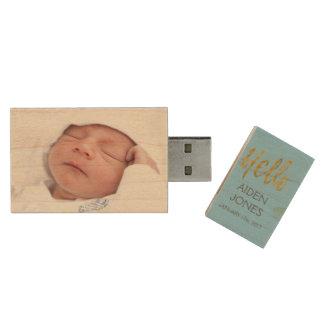 Newborn or Baby Boy for Newborn Portrait Session Wood USB 2.0 Flash Drive