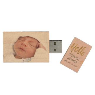 Newborn or Baby Girl for Newborn Portrait Session Wood USB 2.0 Flash Drive