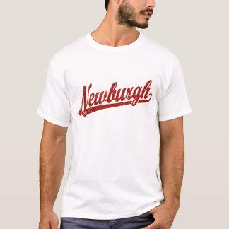 Newburgh script logo in red distressed T-Shirt