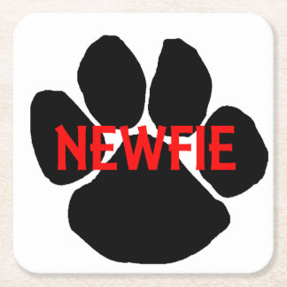 newfie name paw square paper coaster