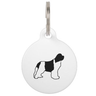 newfie silo white black pet ID tag