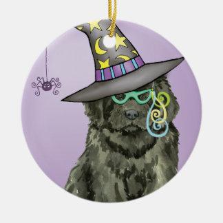 Newfie Witch Ceramic Ornament