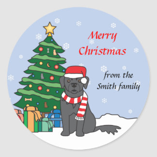 Newfoundland and Christmas Tree Round Stickers