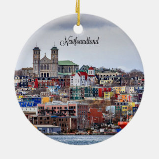 Newfoundland, cityscape photograph ceramic ornament