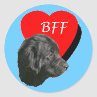Newfoundland dog BFF Round Sticker