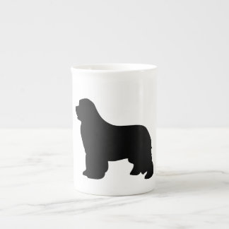 Newfoundland dog bone china mug, black silhouette tea cup
