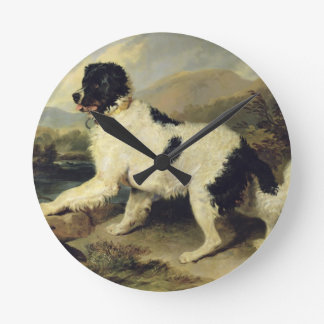 Newfoundland Dog Called Lion, 1824 (oil on canvas) Wall Clock