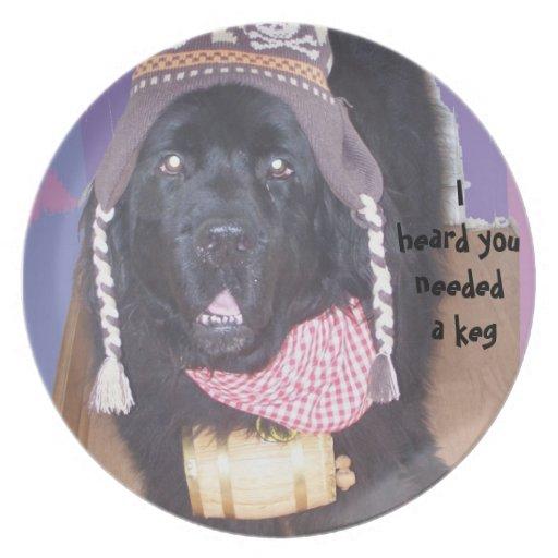 Newfoundland dog keg party plate