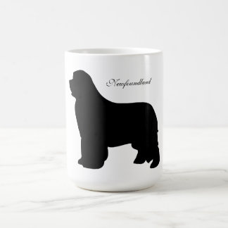 Newfoundland dog mug, black silhouette, gift basic white mug