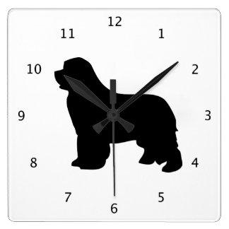 Newfoundland dog, newfie black silhouette square wall clock