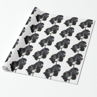 Newfoundland dogs black and white wrapping paper