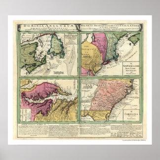 Newfoundland & East Coast Map 1760 Poster