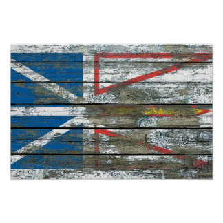 Newfoundland Flag on Rough Wood Boards Effect Poster