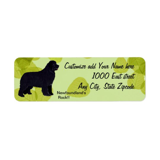 Newfoundland - Green Leaves Design Return Address Label