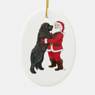 Newfoundland Jowly Christmas Greeting Ceramic Oval Decoration