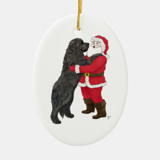 Newfoundland Jowly Christmas Greeting Double-Sided Oval Ceramic Christmas Ornament