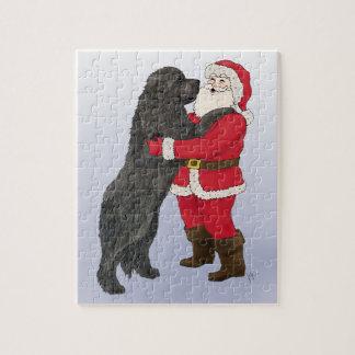 Newfoundland Jowly Christmas Greeting Jigsaw Puzzle