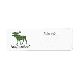 Newfoundland moose tartan  address label