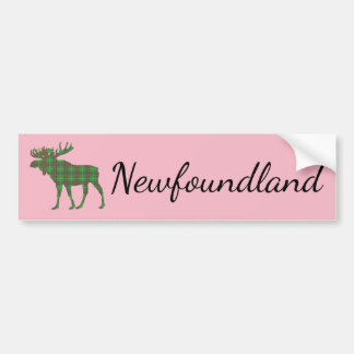 Newfoundland moose tartan bumper sticker pink