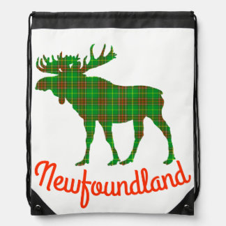 Newfoundland moose Tartan Travel drawstring Bag