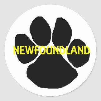 newfoundland name paw.png classic round sticker