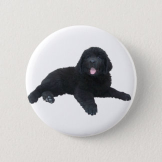 Newfoundland Puppy 6 Cm Round Badge