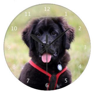 Newfoundland puppy dog cute beautiful photo clocks