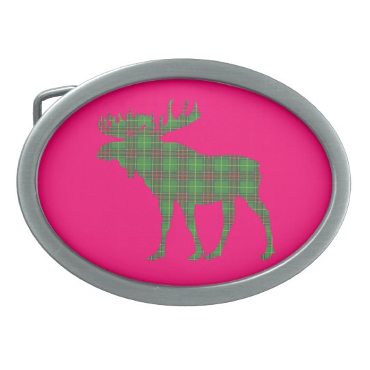 Newfoundland tartan moose belt buckle pink
