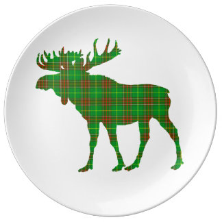 Newfoundland  Tartan plaid moose decor plate