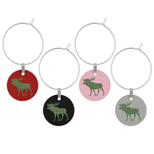 Newfoundland Tartan Wine Charms moose