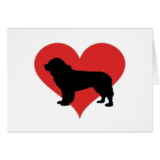 Newfoundland With A Big Red Heart Card
