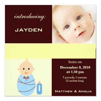 Newly Born Baby Boy 13 Cm X 13 Cm Square Invitation Card