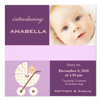 Newly Born Baby Girl 13 Cm X 13 Cm Square Invitation Card