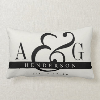 Newly Minted Matrimony Couple's Monogram Lumbar Cushion