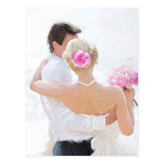 Newly wed couple postcard