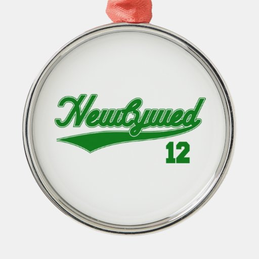 Newlywed 12 (Baseball Script Green) Christmas Ornament