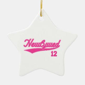Newlywed 12 (Baseball Script Pink) Ceramic Star Decoration