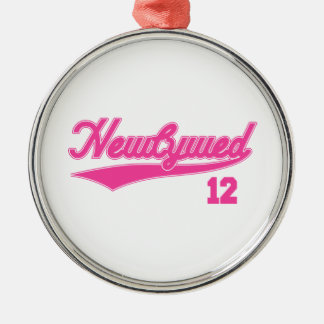 Newlywed 12 (Baseball Script Pink) Silver-Colored Round Decoration