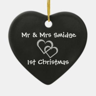 Newlywed 1st Christmas Chalkboard Heart Ornament