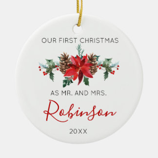 Newlywed Christmas Mr and Mrs red winter flowers Ceramic Ornament