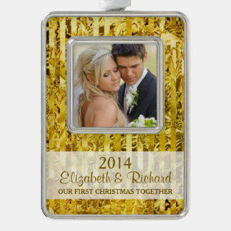 Newlywed First Christmas Photo Gold Stripes Silver Plated Framed Ornament