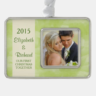 Newlywed First Christmas Photo Green Watercolor Silver Plated Framed Ornament