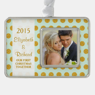 Newlywed First Christmas Photo Mint Gold Dots Silver Plated Framed Ornament