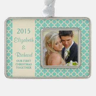 Newlywed First Christmas Photo Mint Quatrefoil Silver Plated Framed Ornament