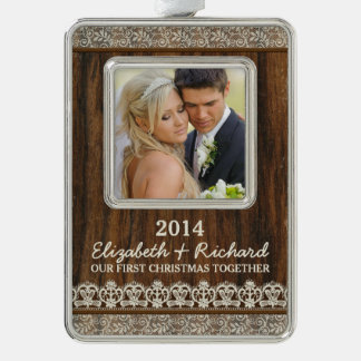 Newlywed First Christmas Photo Rustic Wood Lace Silver Plated Framed Ornament