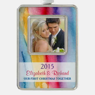 Newlywed First Christmas Photo Watercolor Wash Silver Plated Framed Ornament