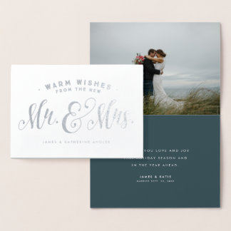 Newlywed foil Christmas photo card