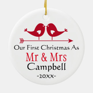 Newlywed Holiday Ornament- Christmas - LoveBirds Ceramic Ornament