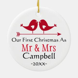 Newlywed Holiday Ornament- Christmas - LoveBirds Round Ceramic Decoration